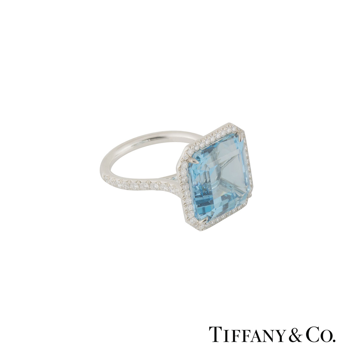 Tiffany & Co. Aquamarine and Diamond Platinum Ring